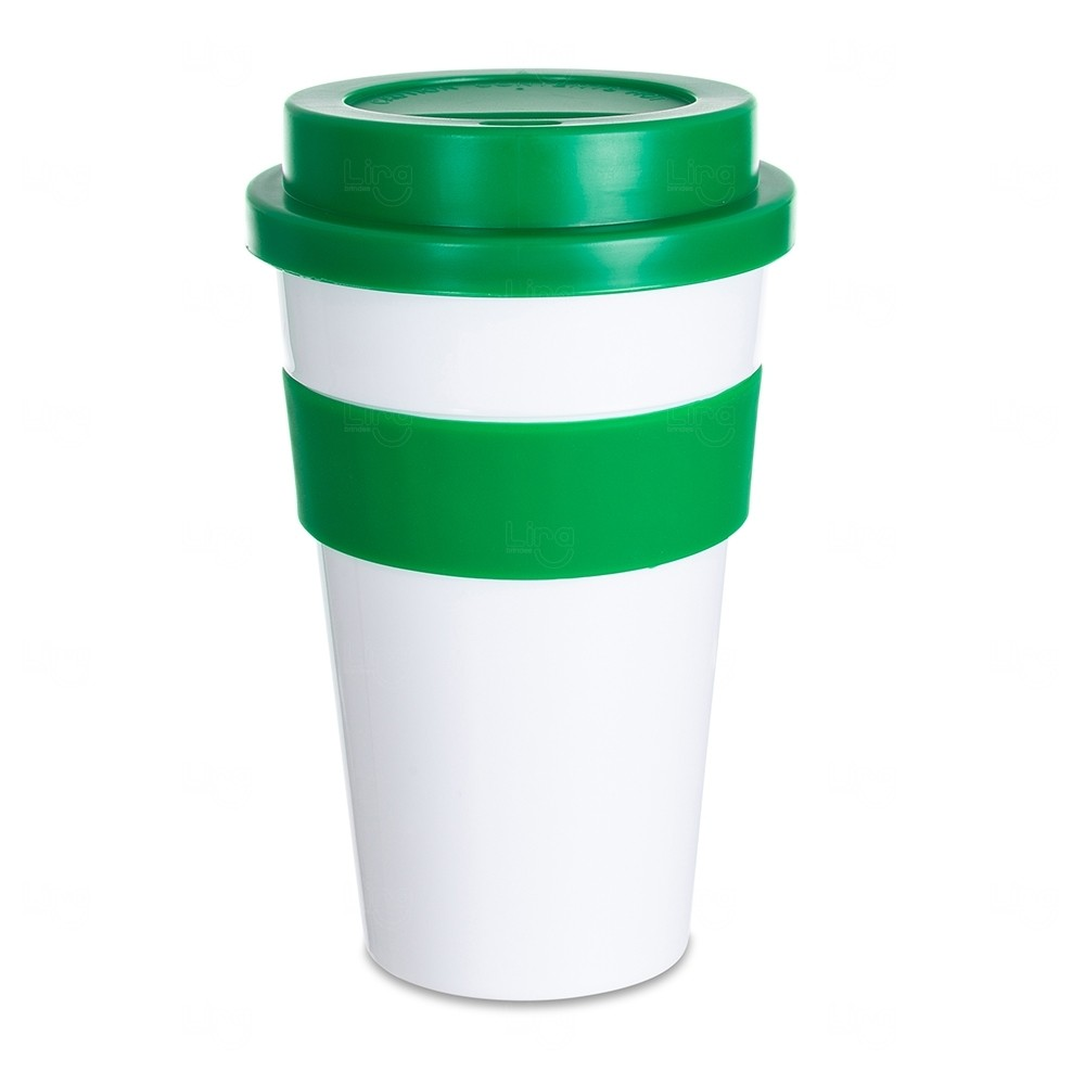 Copo Plástico com Tampa Personalizado - 480 ml Verde