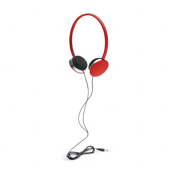 Fone de Ouvido Com Fio Personalizado Vermelho
