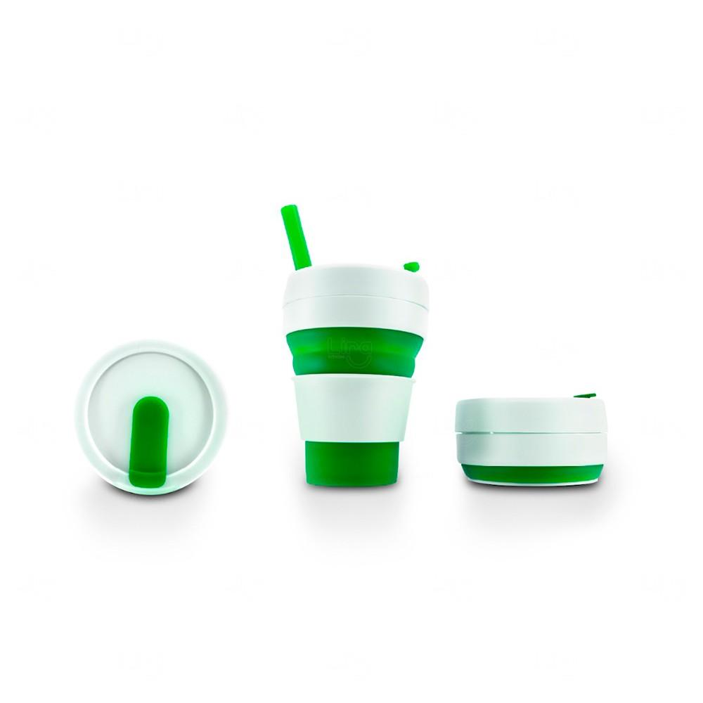 Copo Personalizado Retrátil Com Canudo Verde