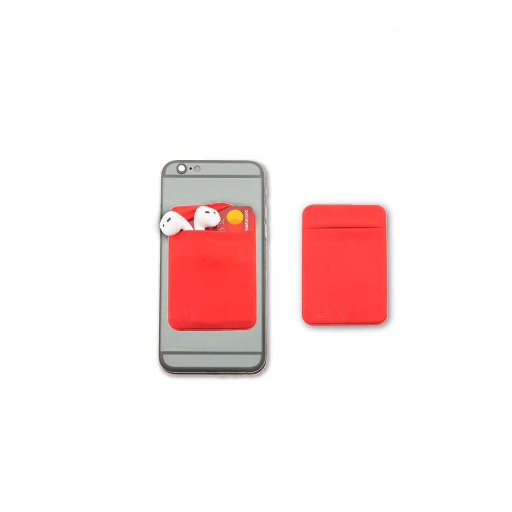 Porta Cartão Personalizado de Lycra Vermelho