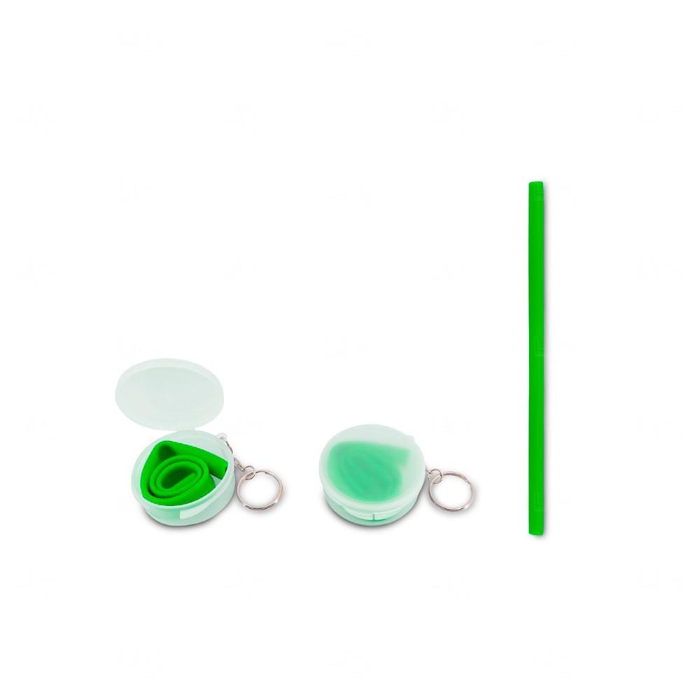 Canudo Personalizado para Milkshake em Silicone com Estojo Verde