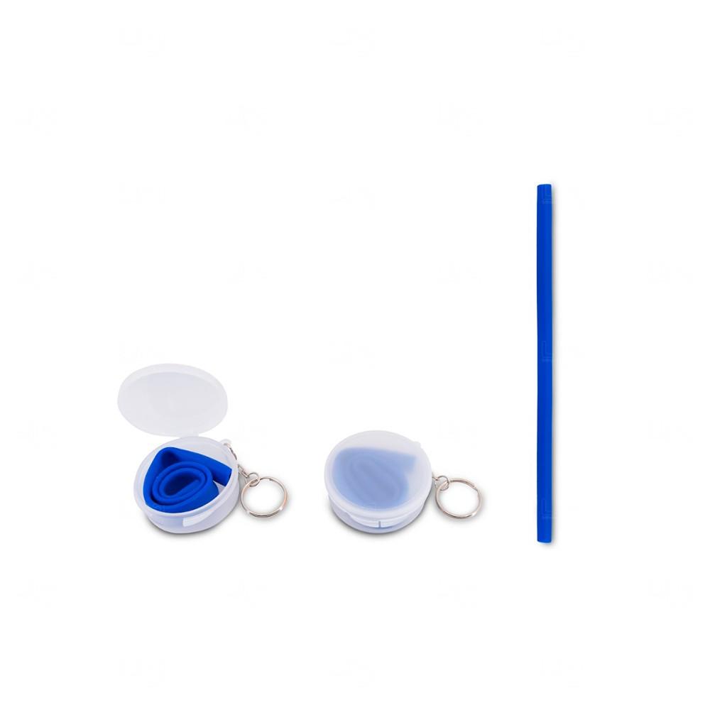 Canudo Personalizado para Milkshake em Silicone com Estojo Azul