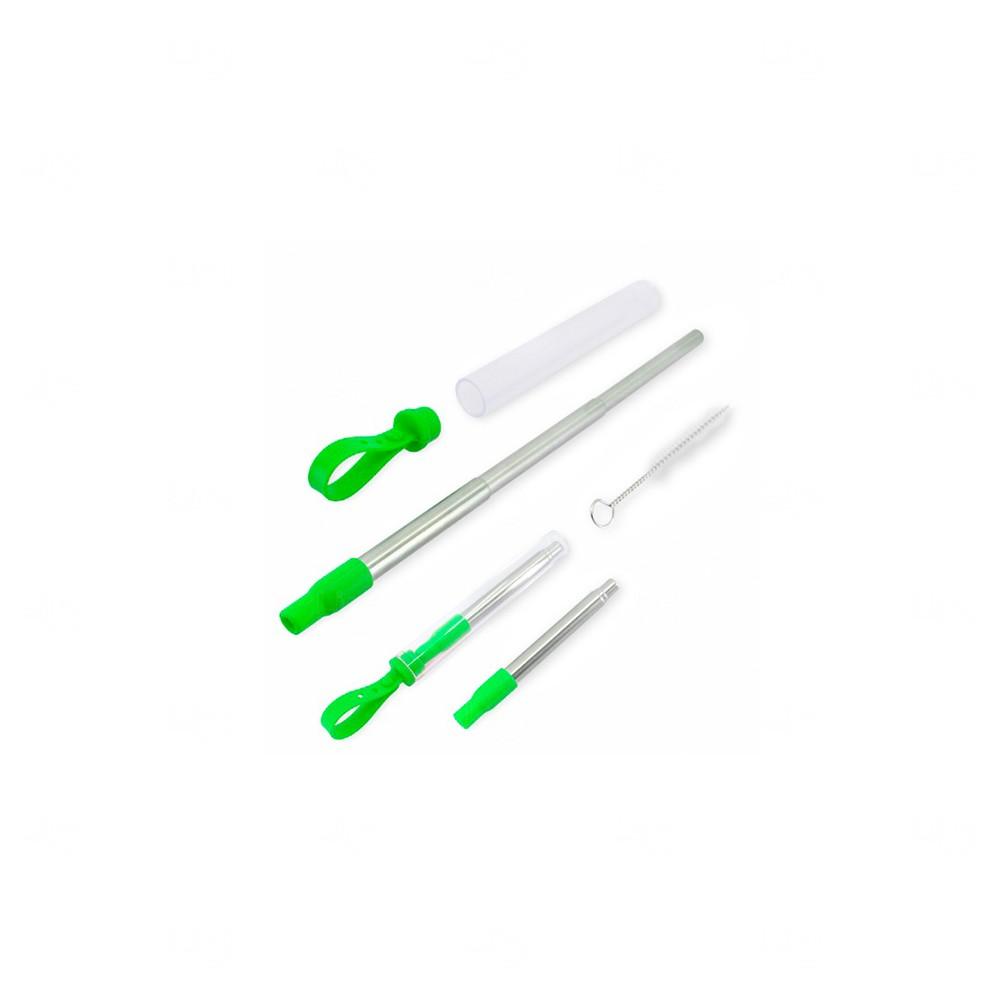 Canudo Personalizado Retrátil de Metal Verde