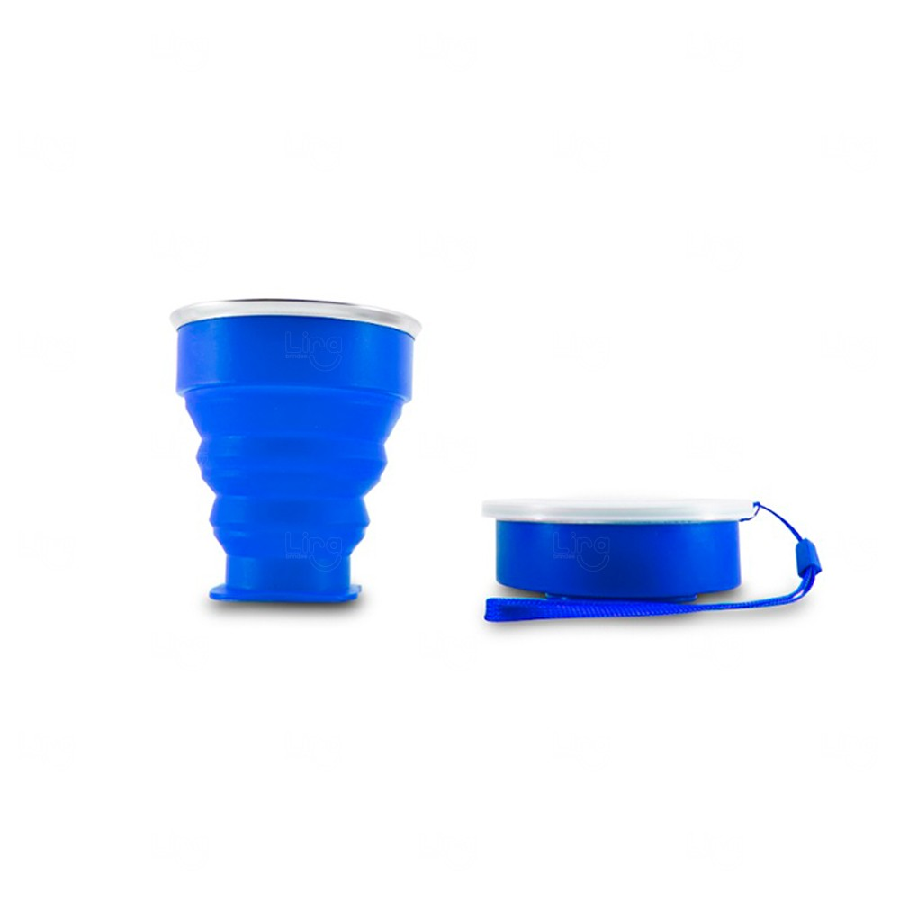 Copo Personalizado Retrátil de Silicone Azul
