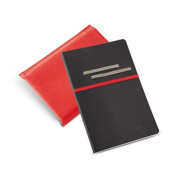 Caderno Couro Sintético Personalizado Vermelho