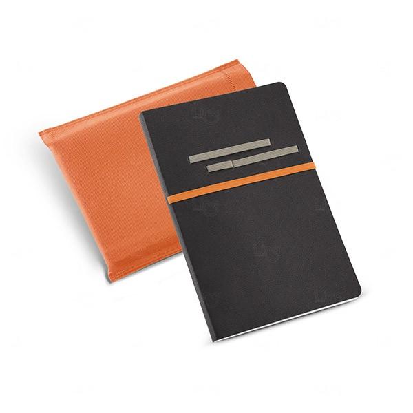 Caderno Couro Sintético Personalizado Laranja