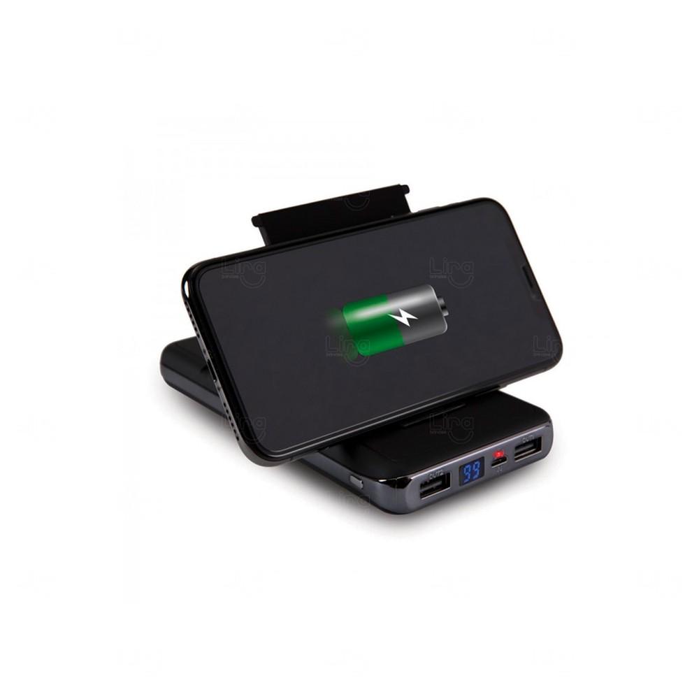 Power Bank Personalizado Wireless Hinge - 10.000 mAh Preto