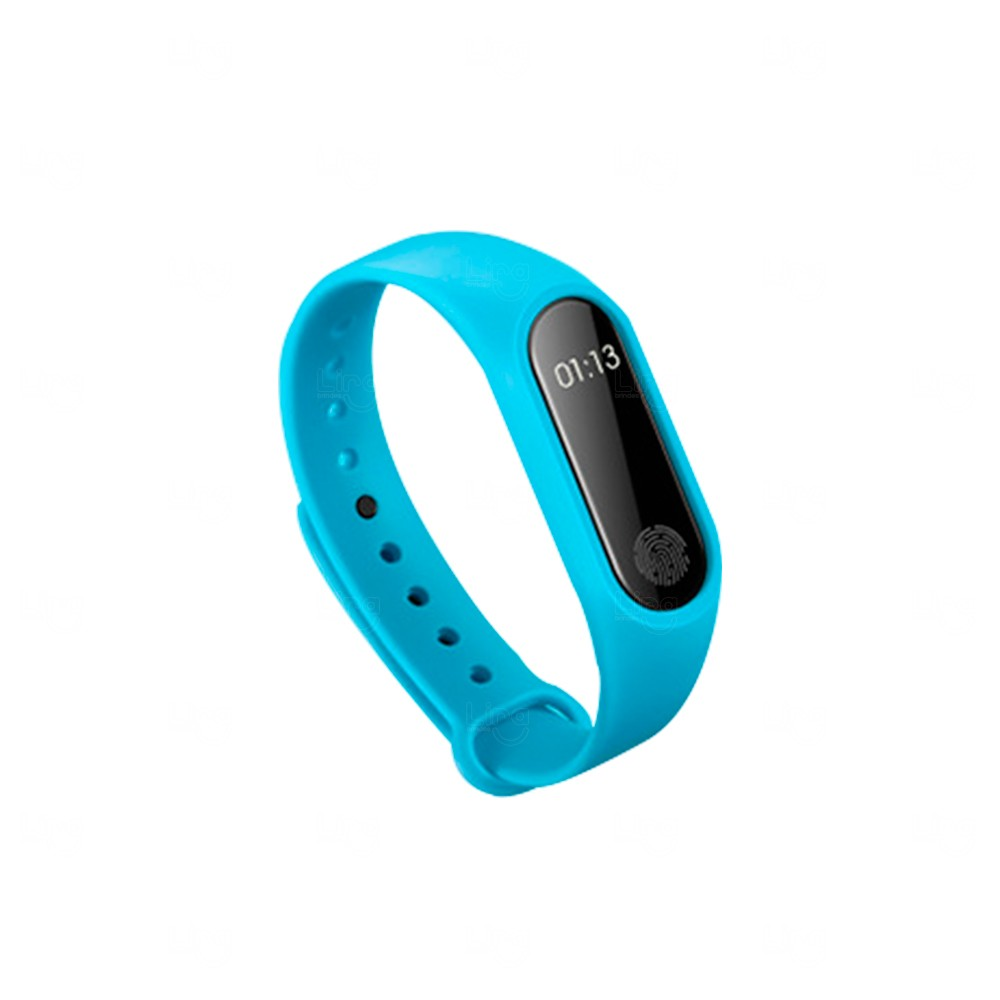 Relógio Smartband Black Pearl 2 Personalizada Azul Claro