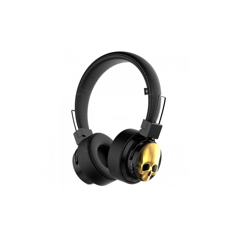 Fone De Ouvido Personalizado Caveira - Bluetooth Dourado