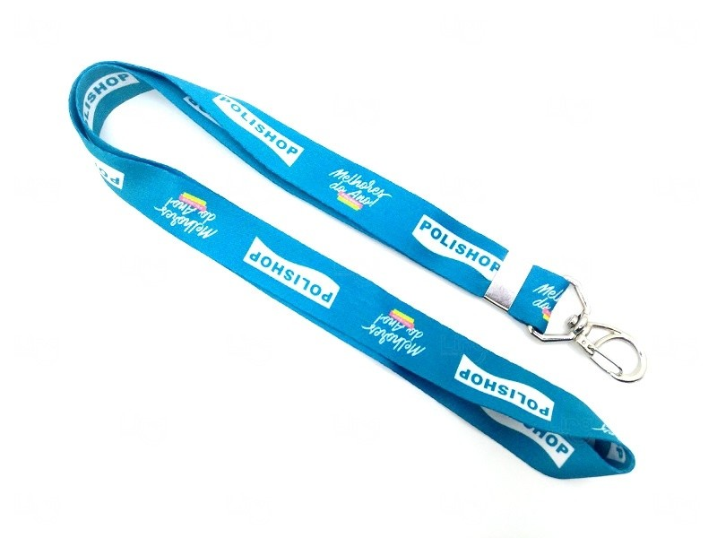 Cordão De Crachá Personalizado com Presilha Mosquetinho 2 cm Azul Claro