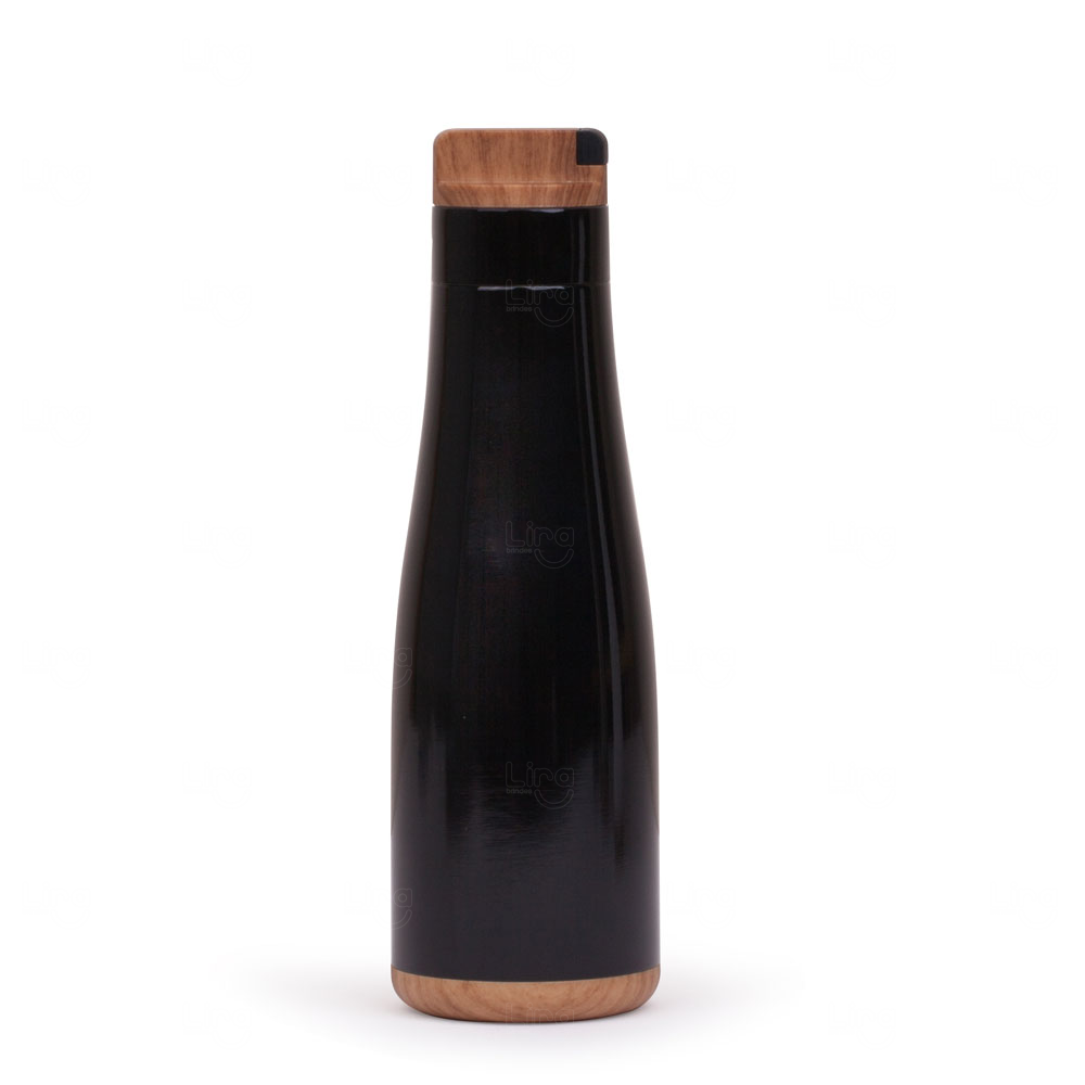 Garrafa Personalizada Inox Madeira - 750 ml Preto