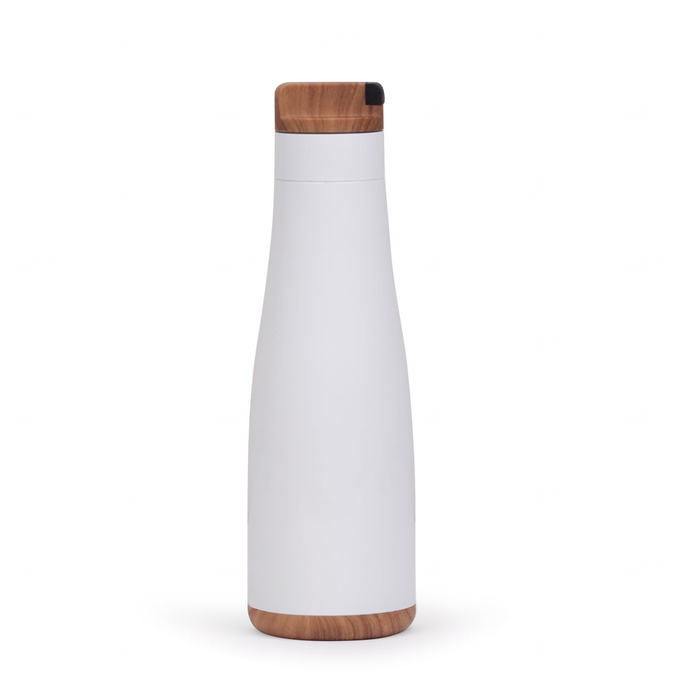 Garrafa Personalizada Inox Madeira - 750 ml Branco