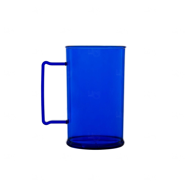 Caneca Personalizada Acrílica Transparente Color - 500 ml Azul Marinho