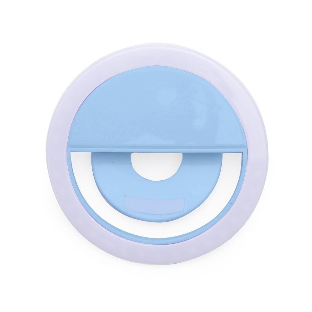 Anel de Iluminação Personalizado Selfie Ring - Recarregável Azul Claro