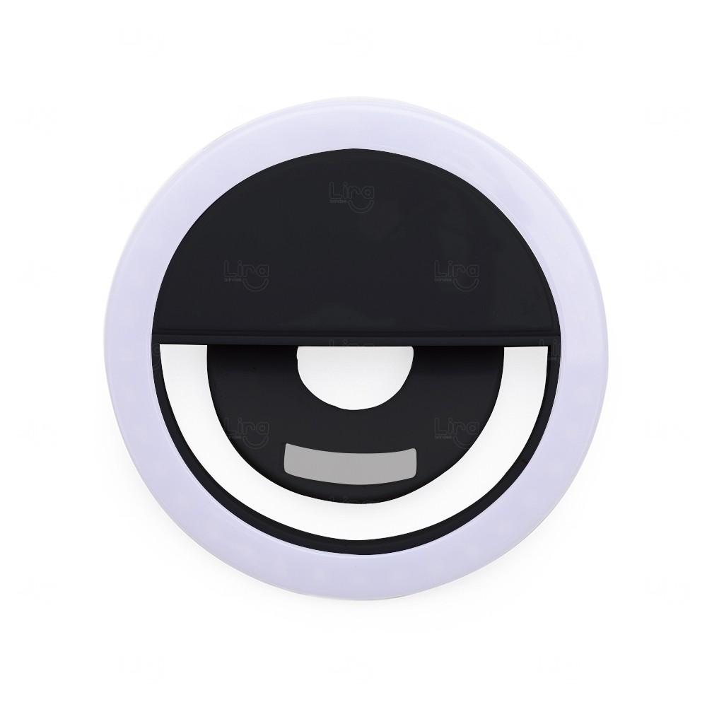 Anel de Iluminação Personalizado Selfie Ring - Recarregável Preto
