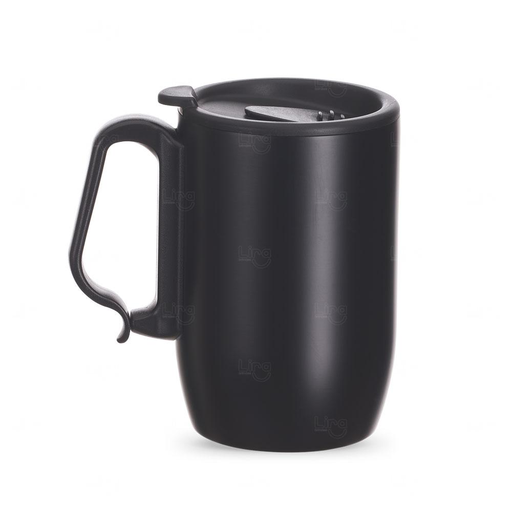 Caneca Inox Conserva Temperatura Personalizada - 350 ml Preto