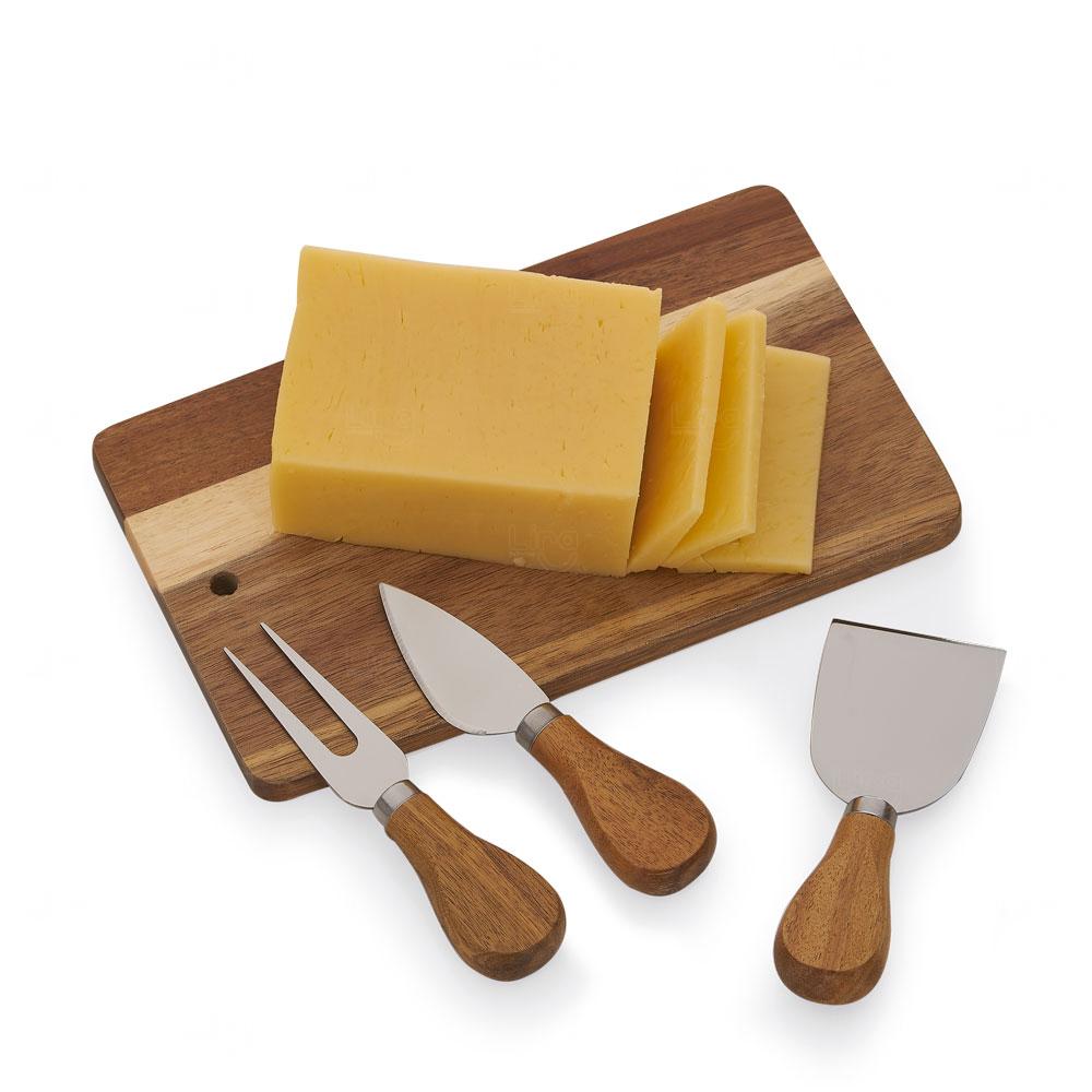 Conjunto Kit queijo Personalizado com 04 Peças Madeira