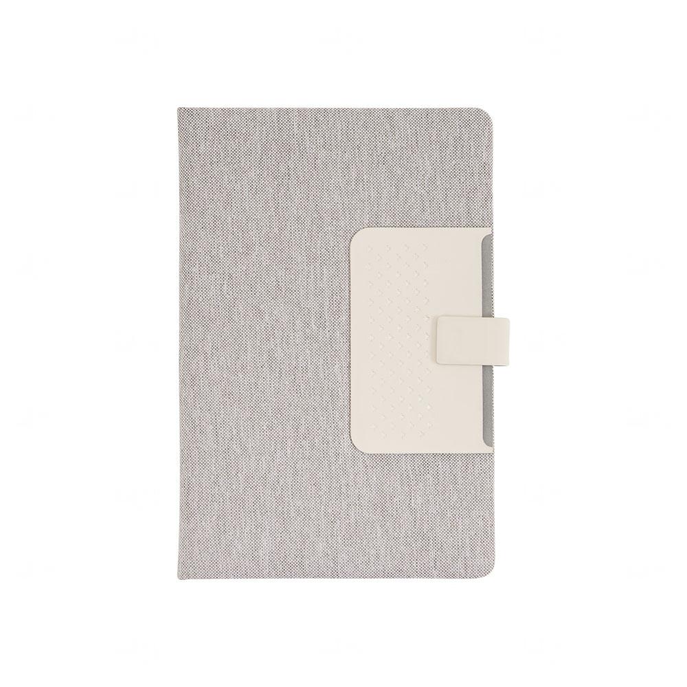 Caderno de Anotações Personalizado com Fecho Magnético Cinza Claro