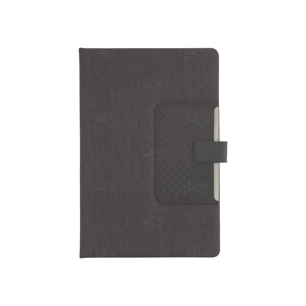 Caderno de Anotações Personalizado com Fecho Magnético Preto