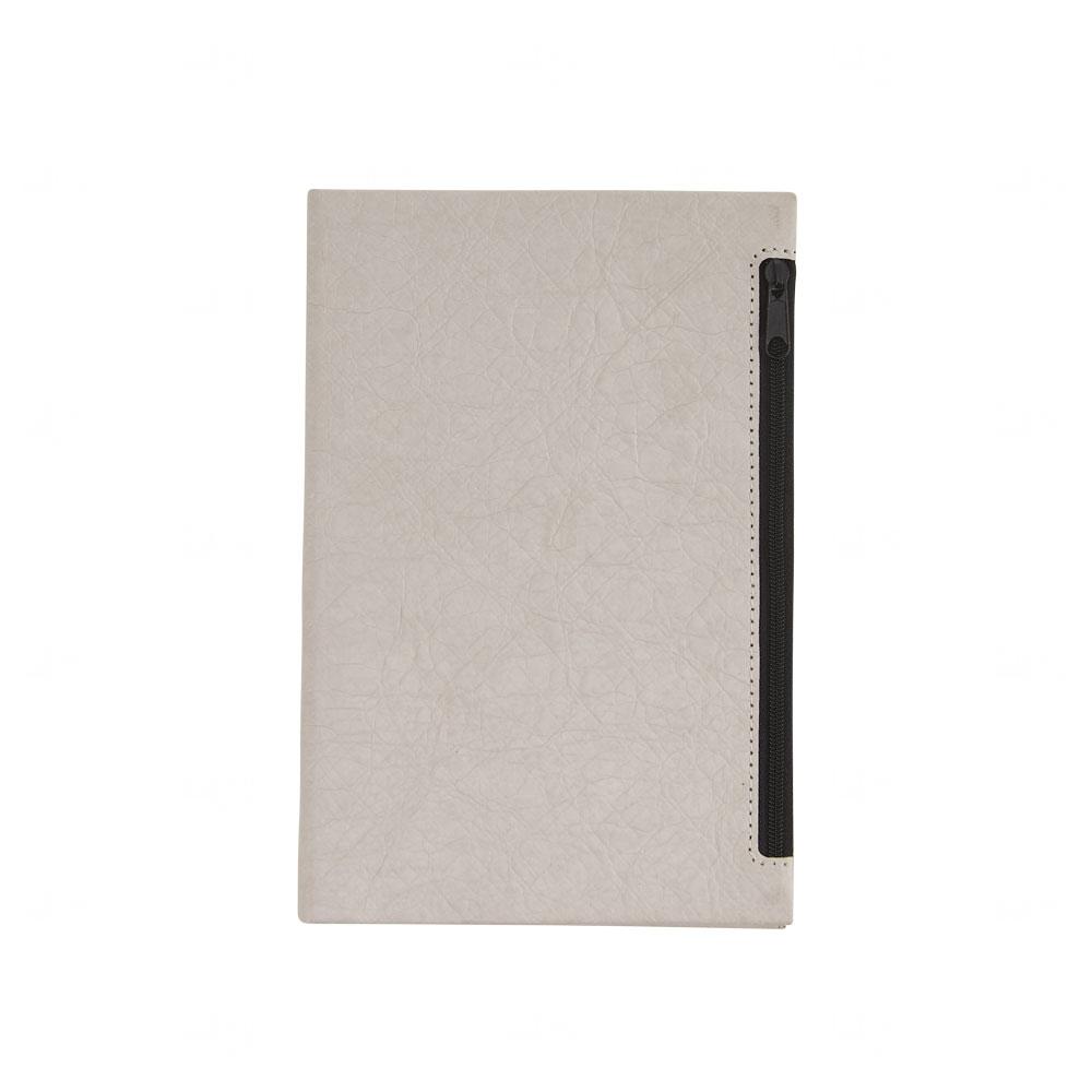 Caderno de Anotações Personalizado com Porta Objetos na Capa Cinza Claro