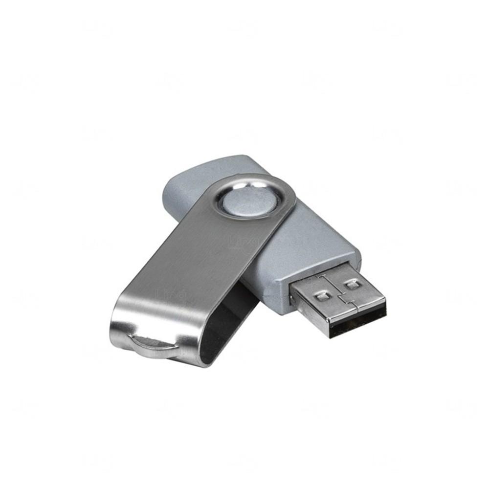 Pen Drive Com Tampa Giratória Personalizado - 32 GB Prata