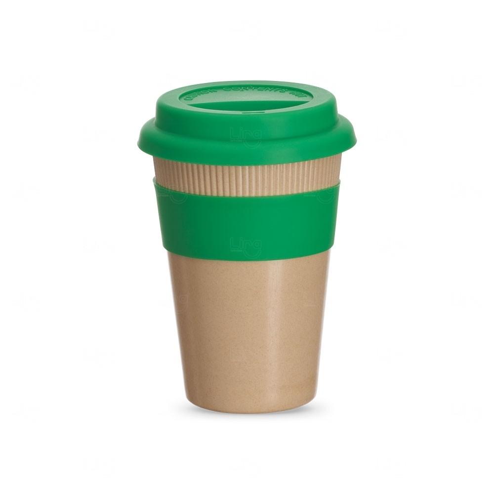 Copo Fibra de Bambu Personalizado - 450 ml Verde
