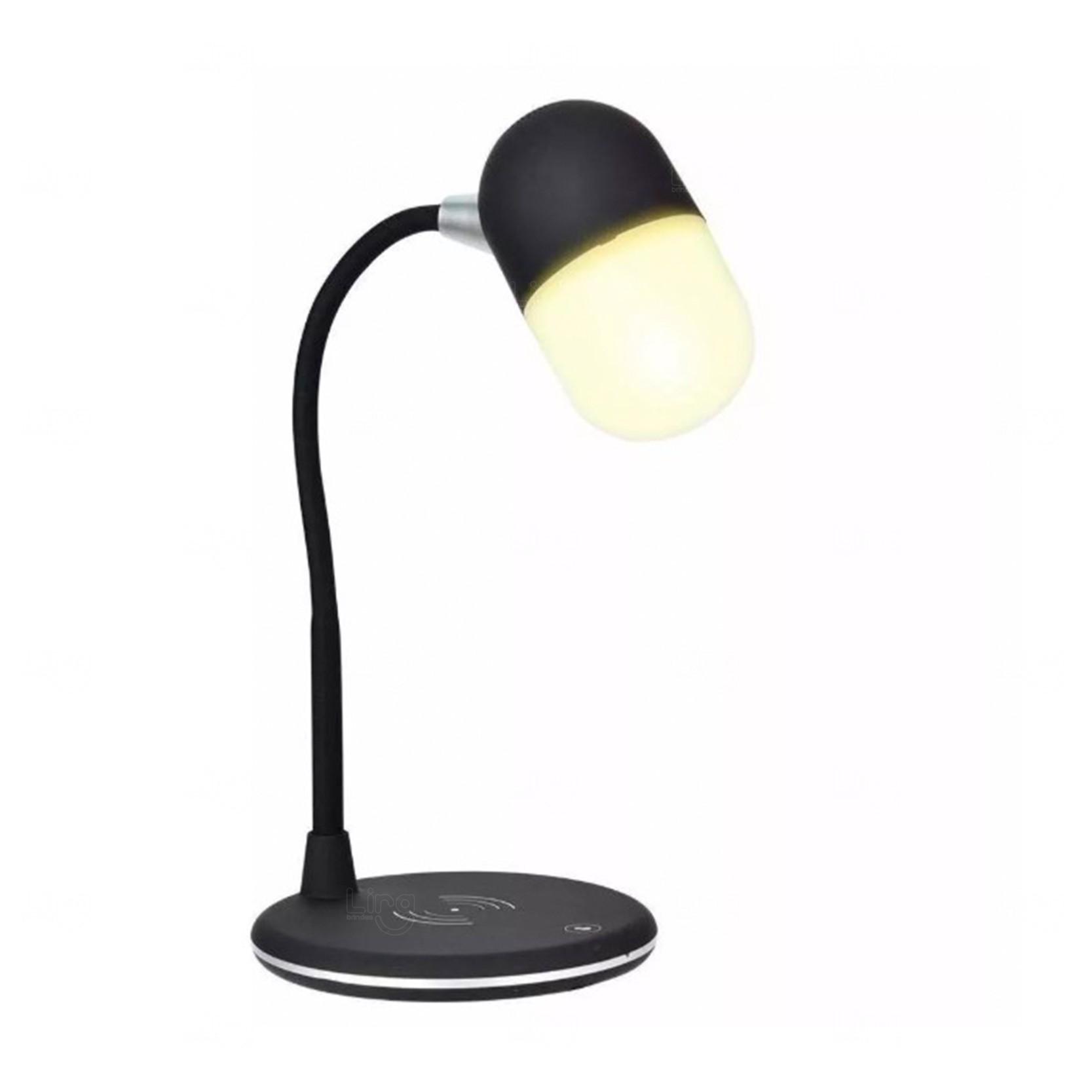 Luminária Caixa De Som E Carregador Wireless Personalizado Preto