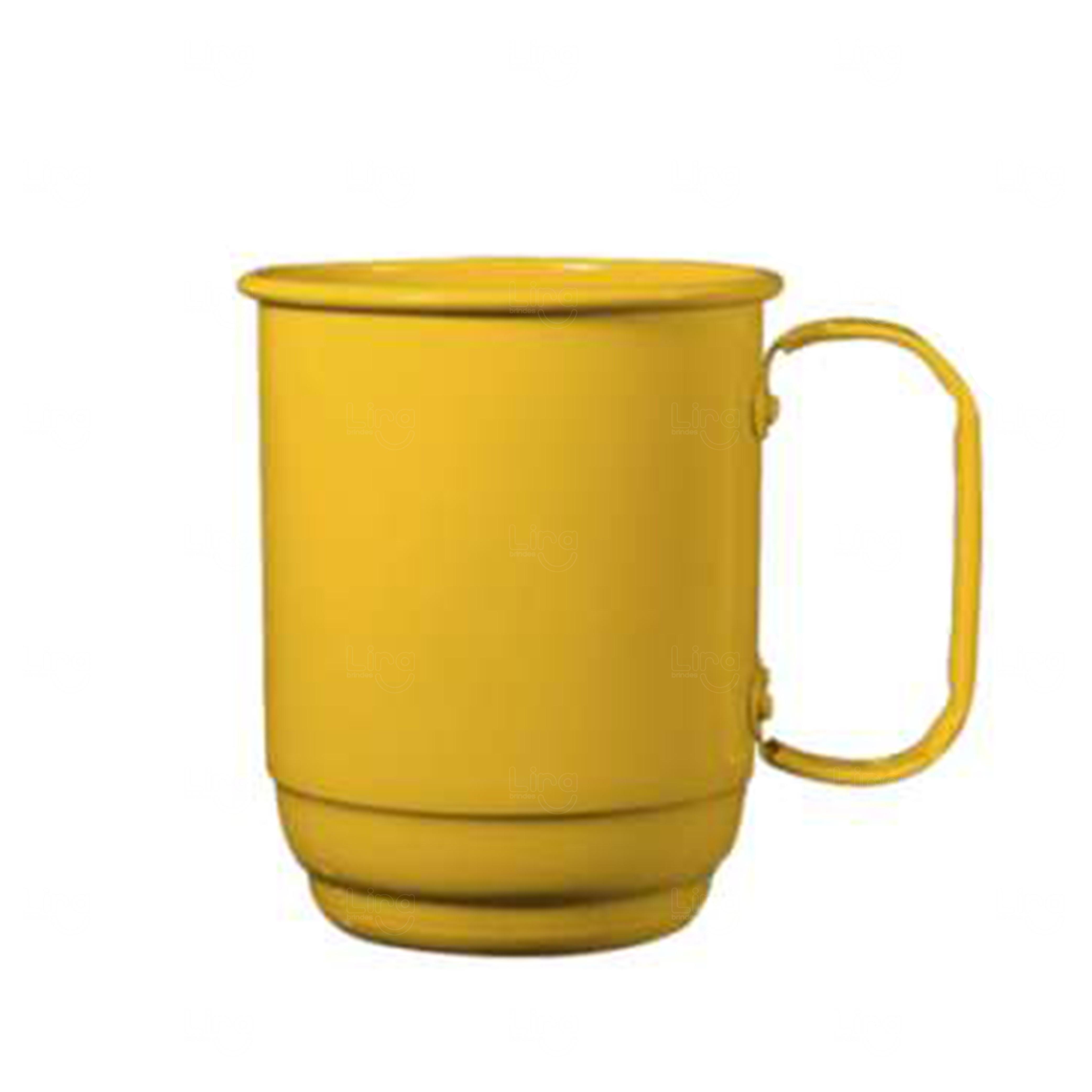 Caneca Alumínio Personalizada - 500 ml Amarelo