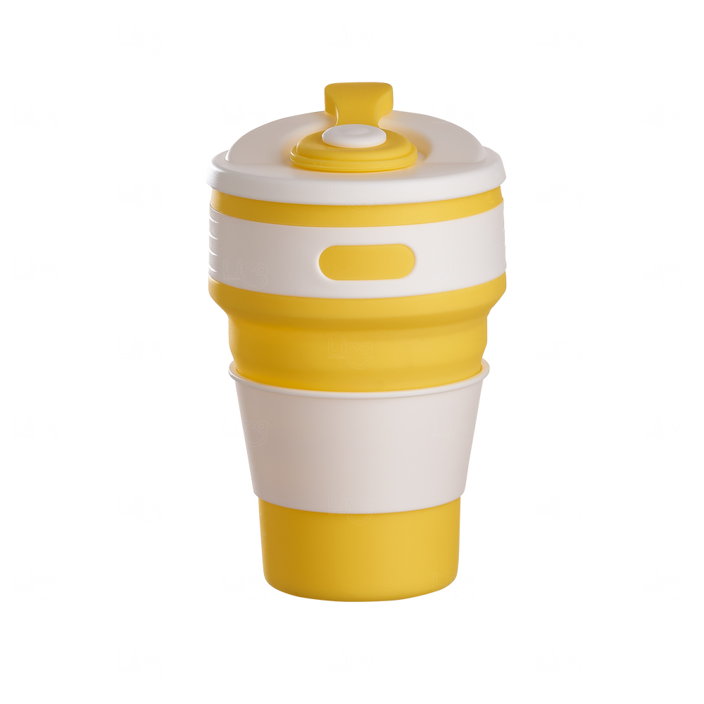 Copo Retrátil Personalizado - 350 ml Amarelo