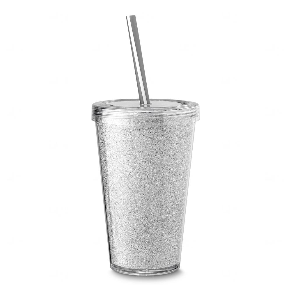Copo Plástico com Canudo Personalizado Branco