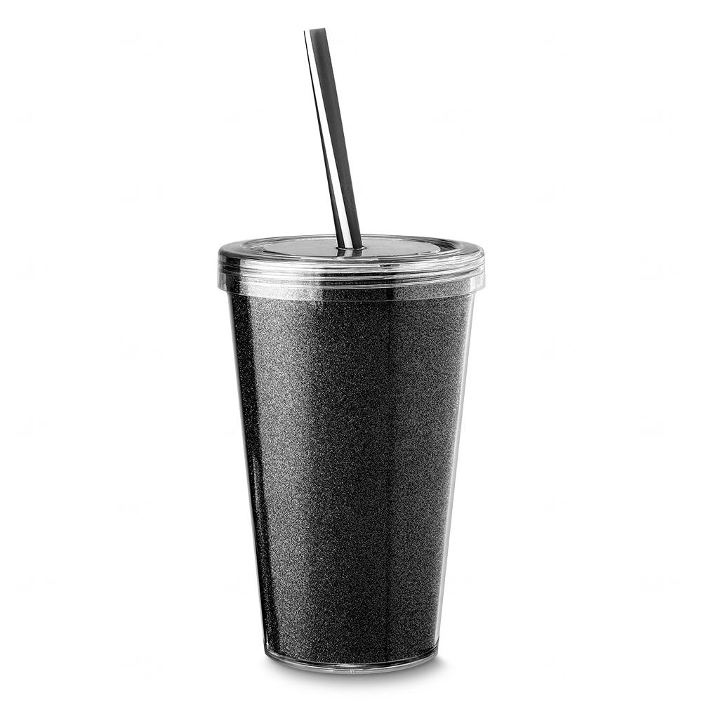 Copo Plástico com Canudo Personalizado Preto