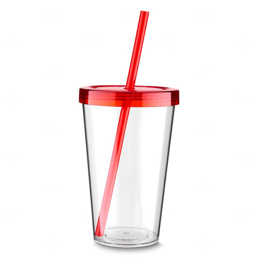 Copo Plástico Personalizado com Canudo Vermelho