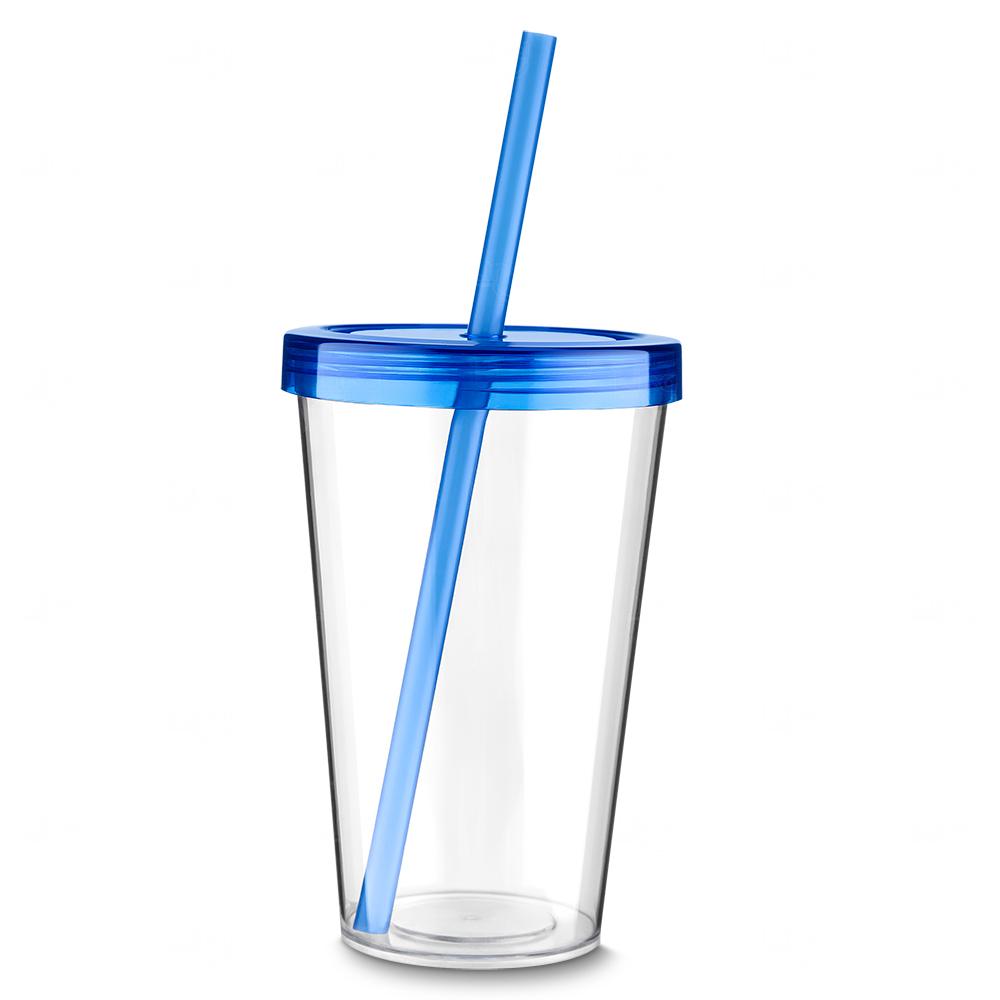 Copo Plástico Personalizado com Canudo Azul