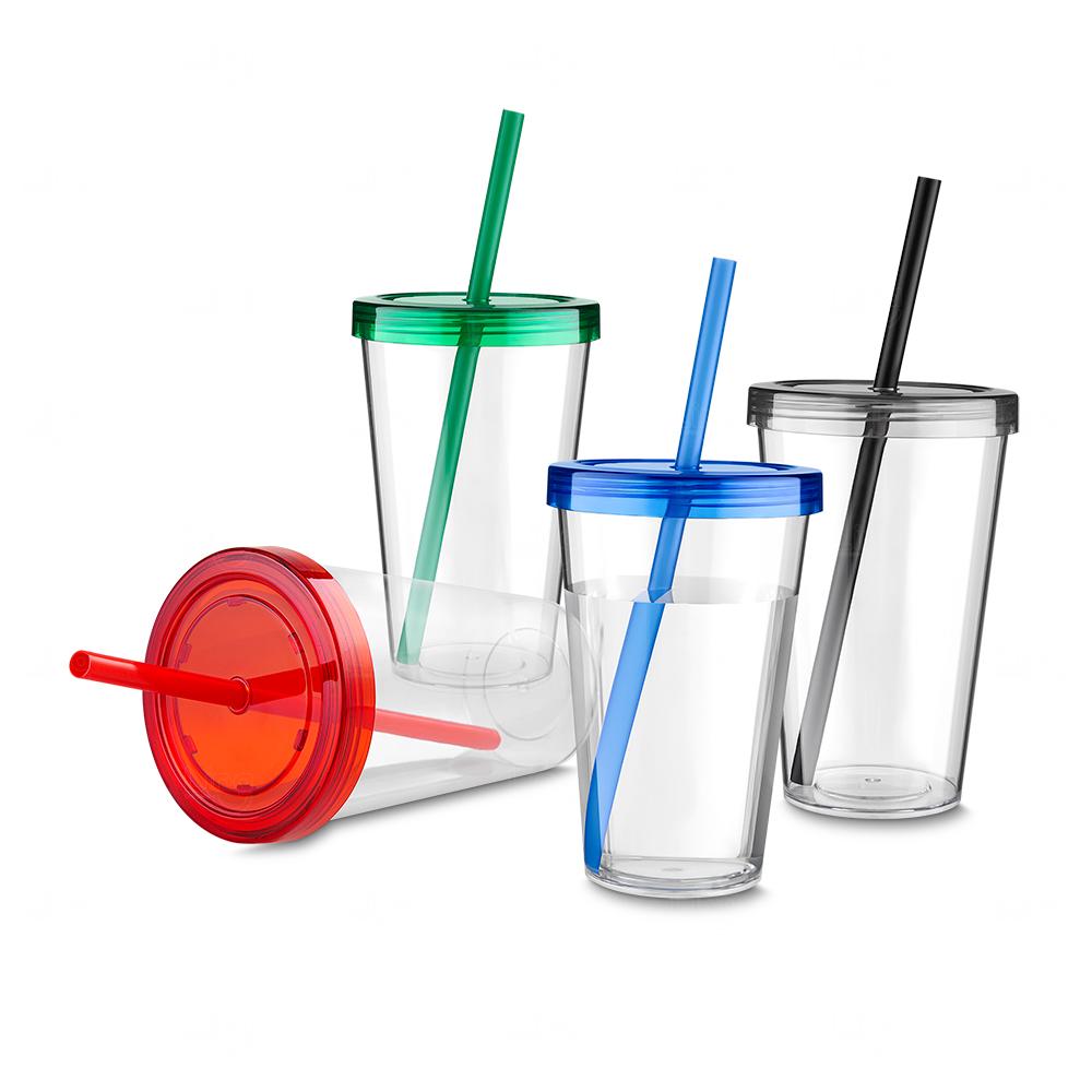 Copo Plástico Personalizado com Canudo