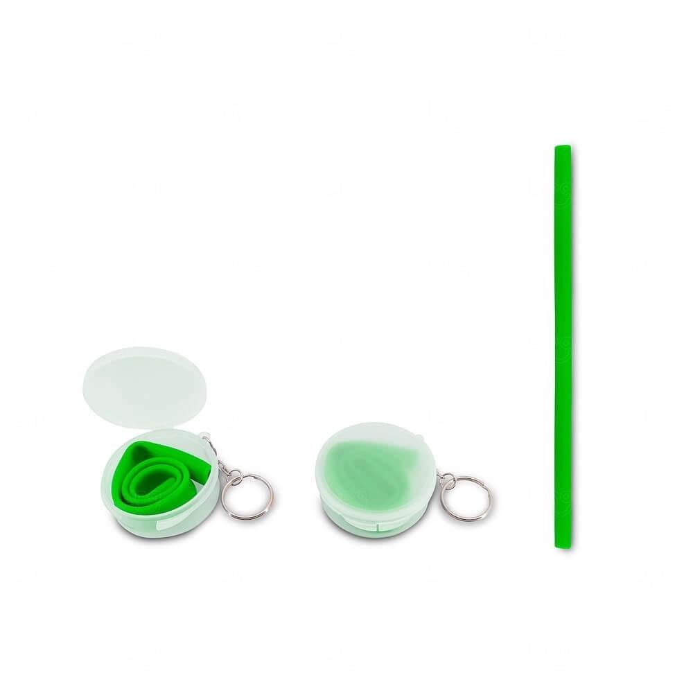Canudo Silicone Com Estojo Personalizado Verde