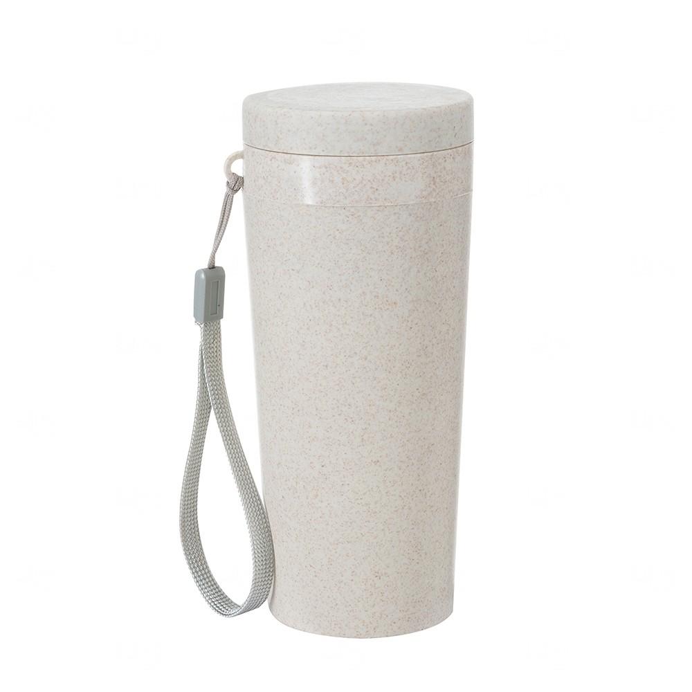 Copo Térmico Personalizado Fibra De Bambu - 350 ml Bege