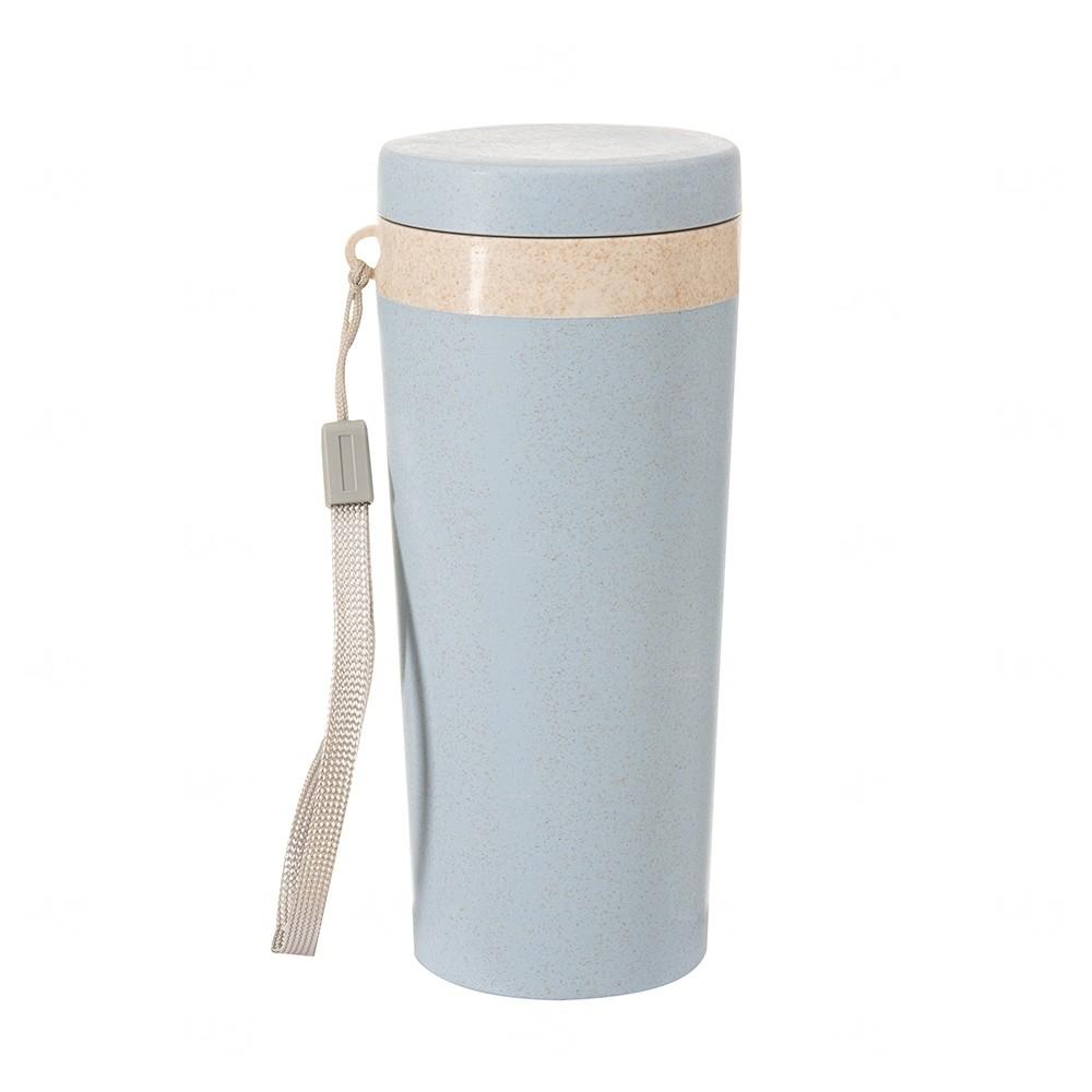 Copo Térmico Personalizado Fibra De Bambu - 350 ml Azul