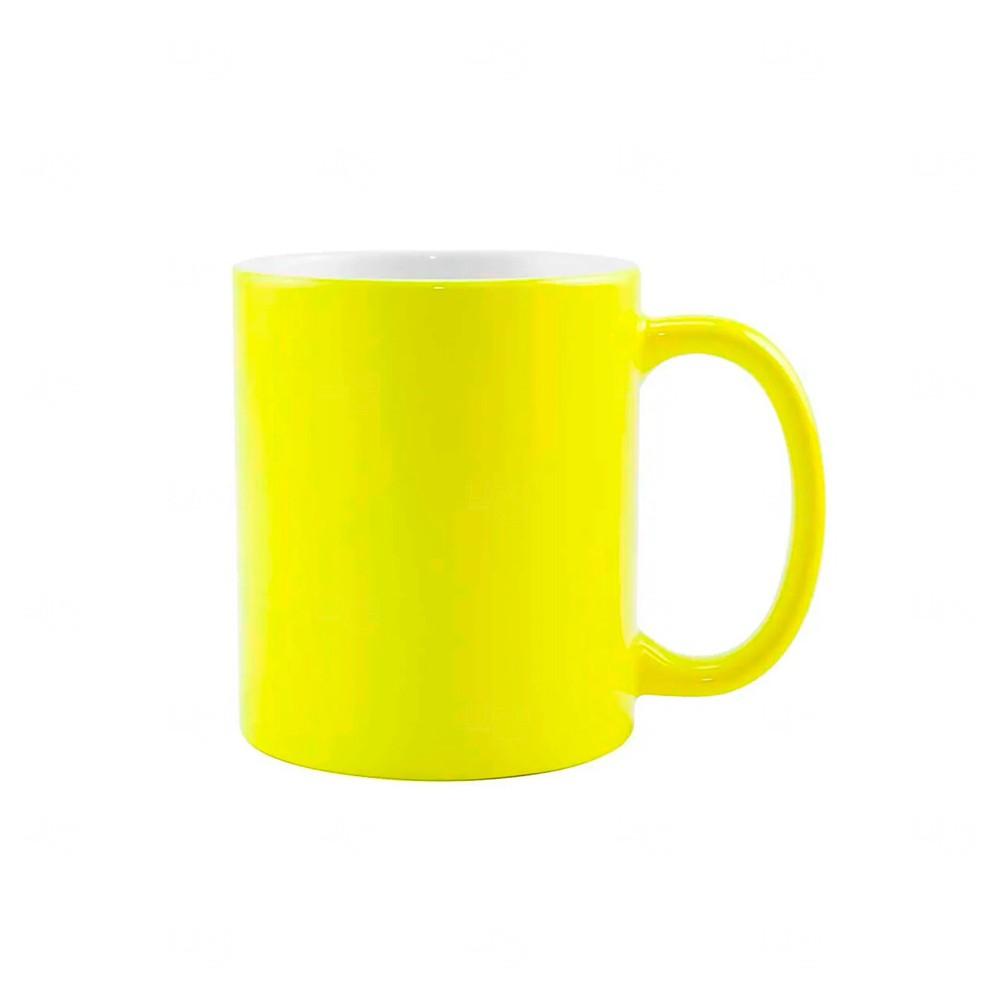Caneca Fluorescente Em Cerâmica Personalizada- 325 Ml Amarelo