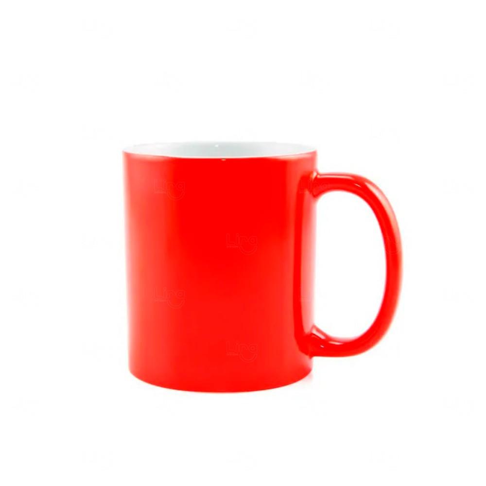 Caneca Fluorescente Em Cerâmica Personalizada- 325 Ml Vermelho