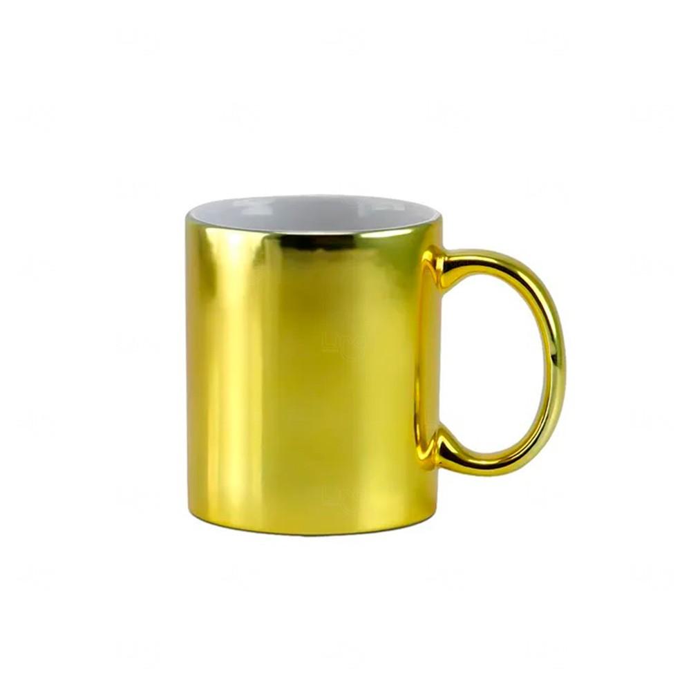 Caneca Em Cerâmica Cromada Personalizada - 325 ML Dourado
