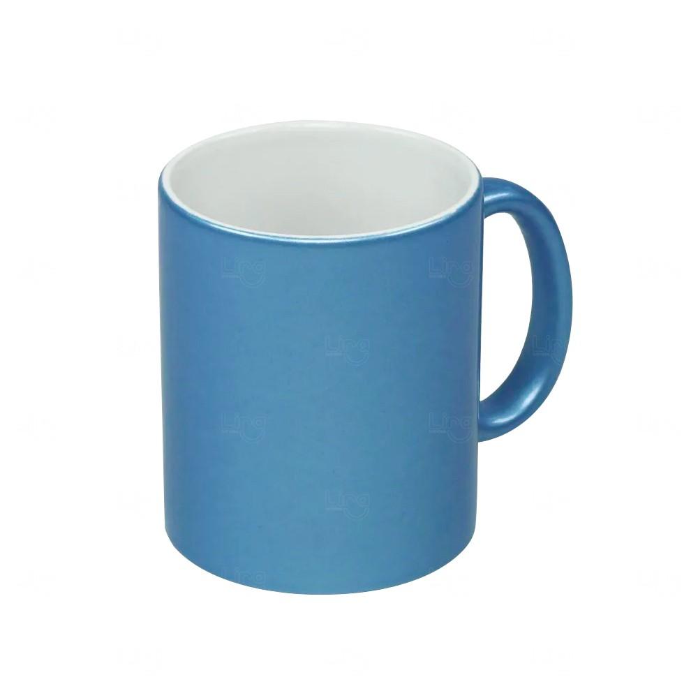 Caneca Em Cerâmica Perolada Personalizada Azul