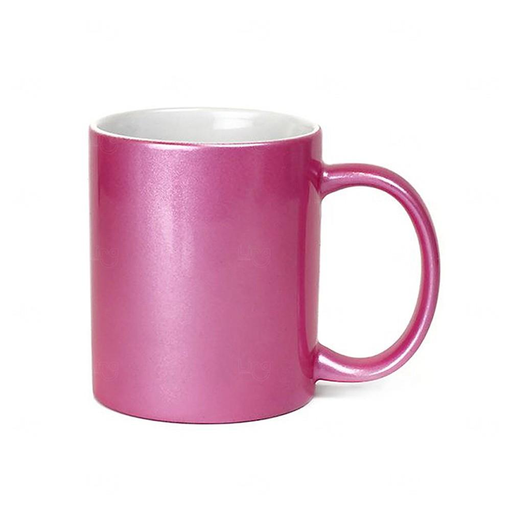 Caneca Em Cerâmica Perolada Personalizada Rosa Pink