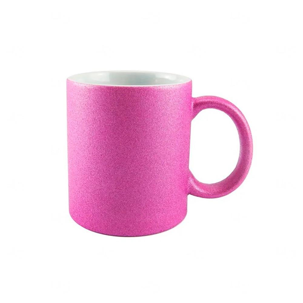 Caneca Em Cerâmica Glitter Personalizada - 325 ML Rosa Pink