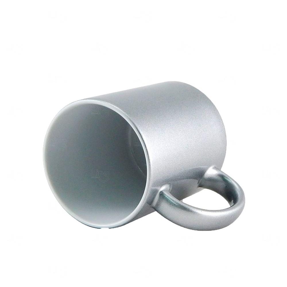 Caneca Em Cerâmica Glitter Personalizada - 325 ML Prata
