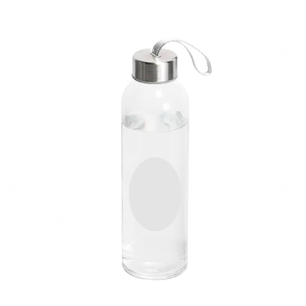 Garrafa de Vidro Com Tarja Branca Personalizada - 420 ml Transparente