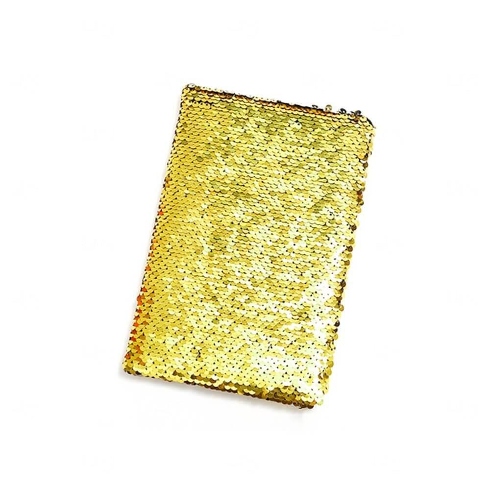 Caderno Capa Lantejoula Personalizado Dourado