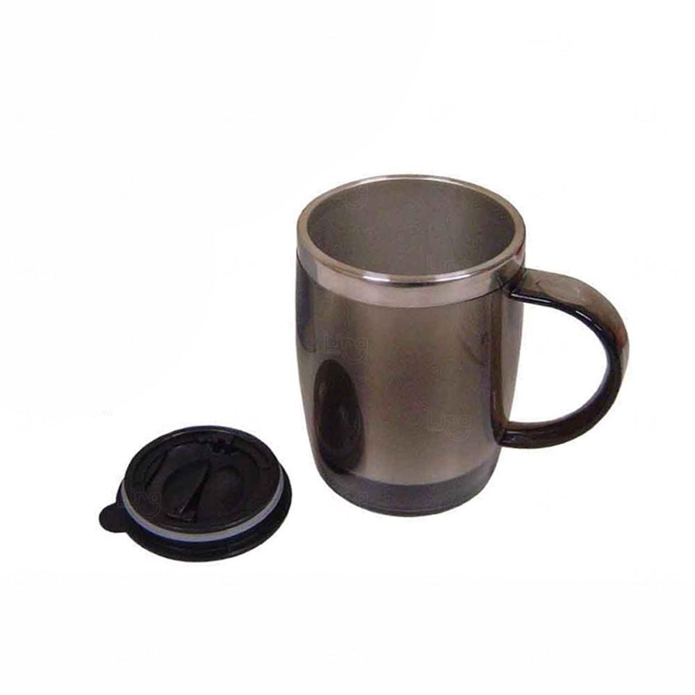 Caneca Plástica Personalizada - 450 ml Cinza