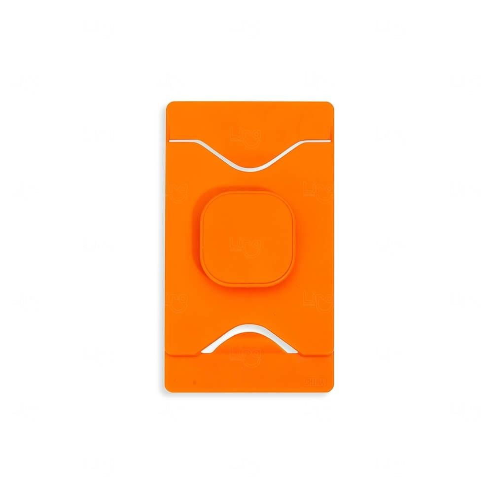Porta Cartão Com Suporte Para Celular Personalizado Laranja