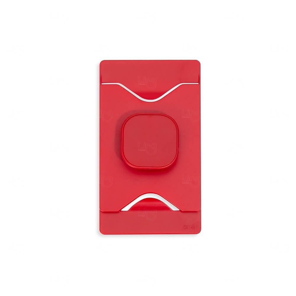 Porta Cartão Com Suporte Para Celular Personalizado Vermelho