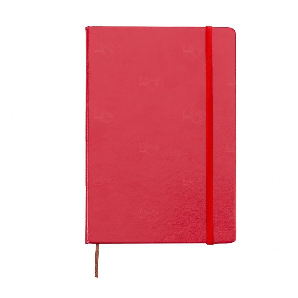 Caderneta Tipo Moleskine de Couro Sintético Personalizada Vermelho